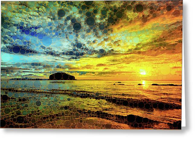 Greeting Card featuring the mixed media Golden Sea by Susan Maxwell Schmidt