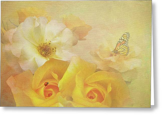 Golden Showers Yellow Roses Greeting Card
