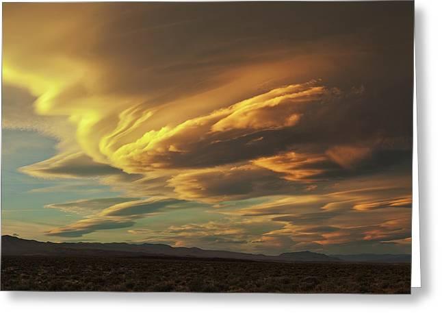 Golden Sierra Wave Greeting Card by Nolan Nitschke
