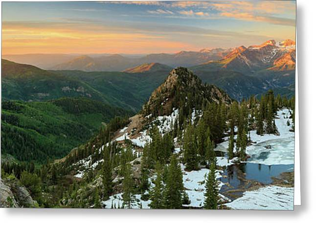 Golden Silver Glance Lake Panorama. Greeting Card by Johnny Adolphson