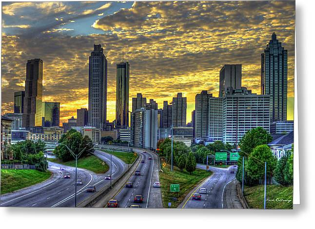 Greeting Card featuring the photograph Golden Skies Atlanta Downtown Sunset Cityscape Art by Reid Callaway