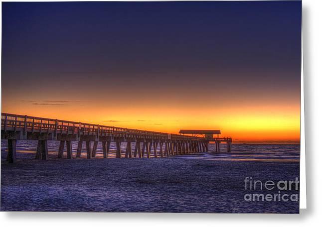 Golden Skies Tybee Island Pier Greeting Card by Reid Callaway