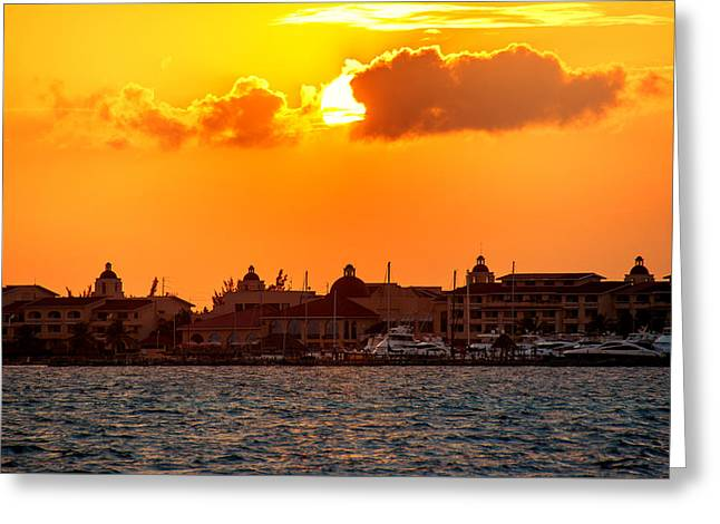 Golden Sky In Cancun Greeting Card