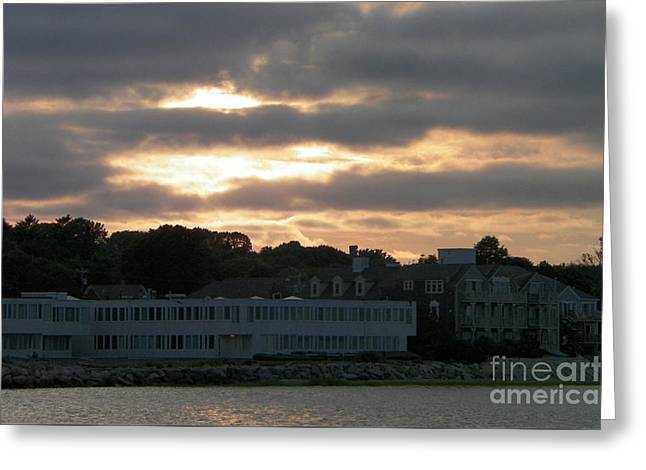 Golden Sky Of Plymouth 2 Greeting Card by Gina Sullivan