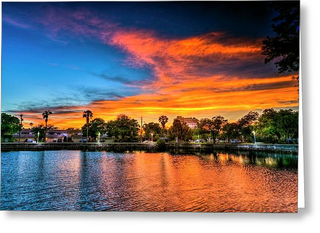 Golden Sky Over Davis Island Greeting Card by Marvin Spates