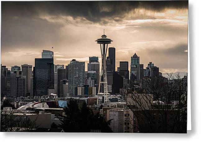 Golden Sky Seattle Greeting Card by Chris McKenna