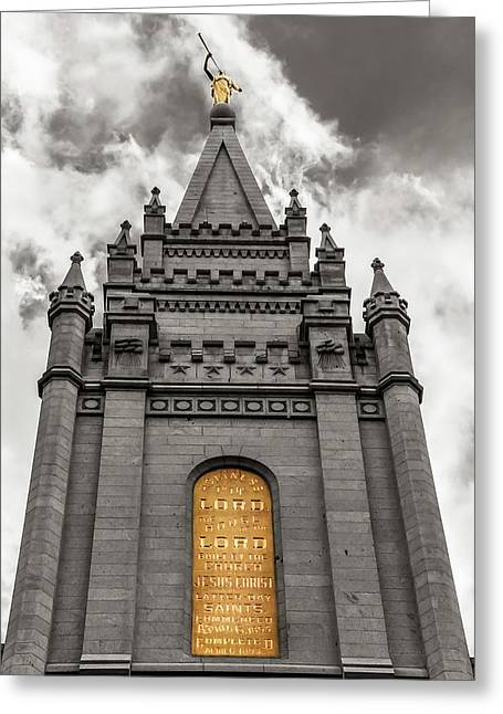 Golden Slc Temple Greeting Card by La Rae  Roberts