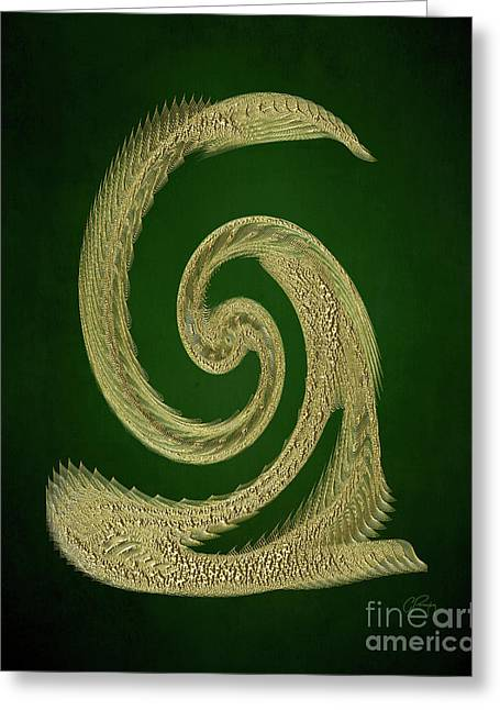 Golden Snake Abstract Greeting Card