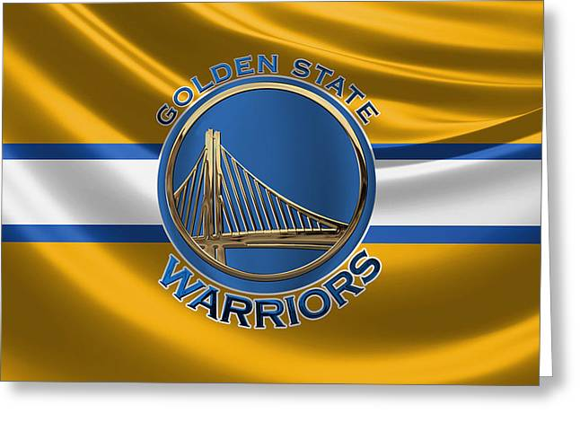 Golden State Warriors - 3 D Badge Over Flag Greeting Card