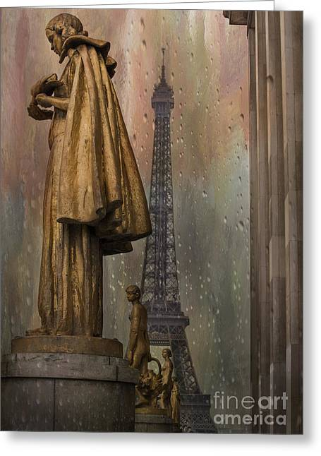 Golden Statues On Trocadero With View Towards Eiffel Tower Paris Greeting Card