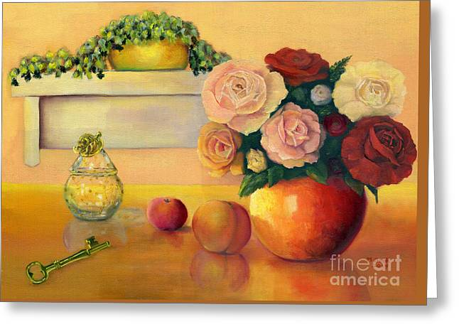 Golden Still Life Greeting Card by Marlene Book