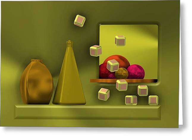Golden Still Life With Red Balls  Greeting Card
