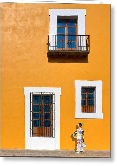Golden Streets Of Puebla Mexico Greeting Card by Mark E Tisdale