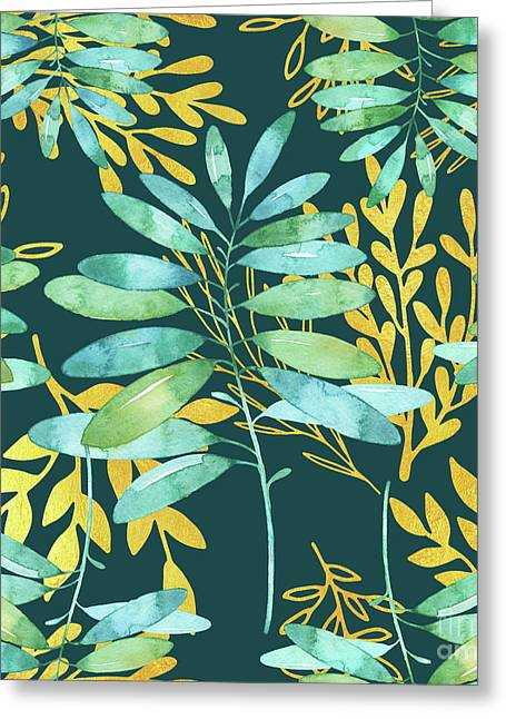 Golden Summer Leaves Pattern Greeting Card by Tina Lavoie