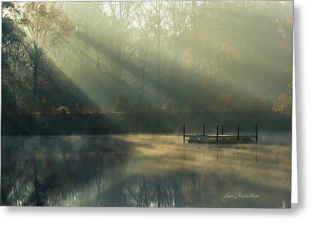 Golden Sun Rays Greeting Card by George Randy Bass