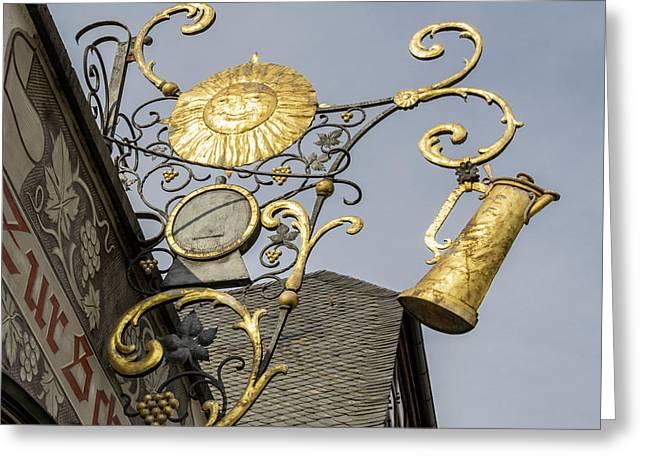 Golden Sun Sign Rudesheim Greeting Card