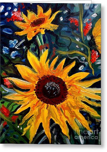 Golden Sunflower Burst Greeting Card