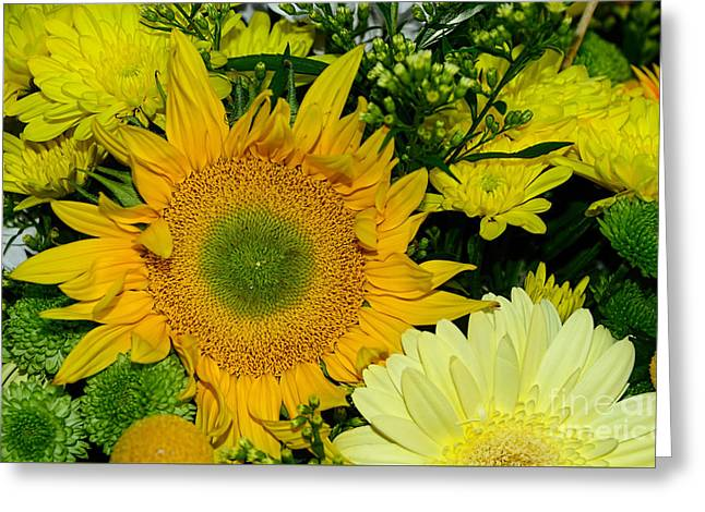 Golden Sunflower Yellow Bouquet By Kaye Menner Greeting Card by Kaye Menner