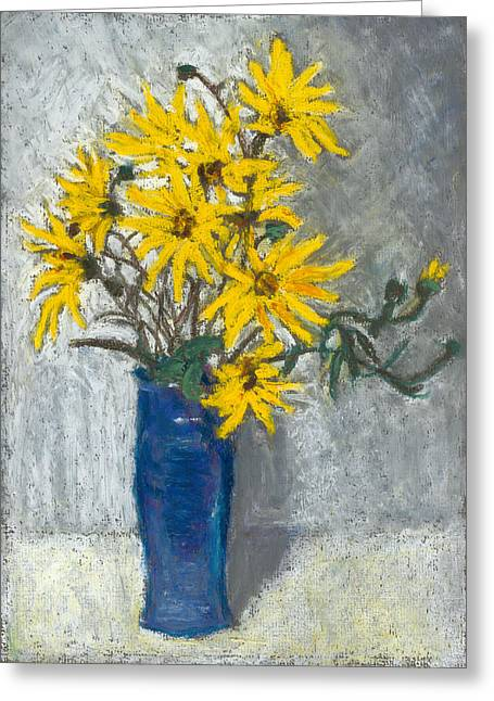 Golden Sunflowers In Blue Vase Greeting Card by Judy Adamson
