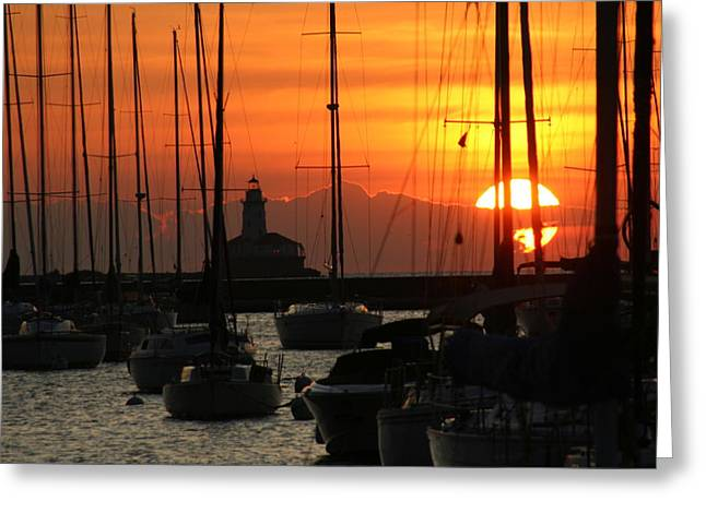 Golden Sunrise On Monroe Harbor Greeting Card by Gregory Jeffries