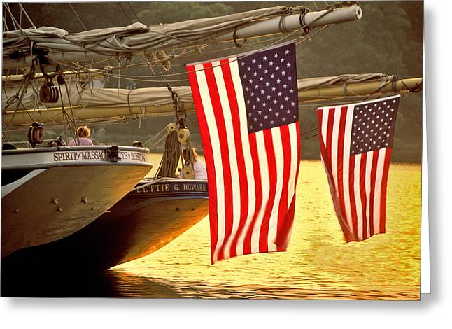 Golden Sunset And American Flags Greeting Card by Stephen Sisk