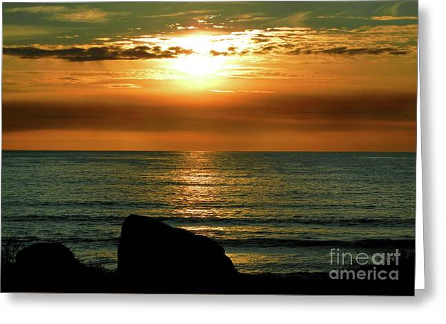 Greeting Card featuring the photograph Golden Sunset At The Beach IIi by Mariola Bitner