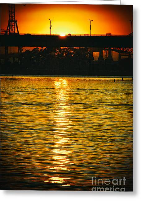 Greeting Card featuring the photograph Golden Sunset Behind Bridge by Mariola Bitner