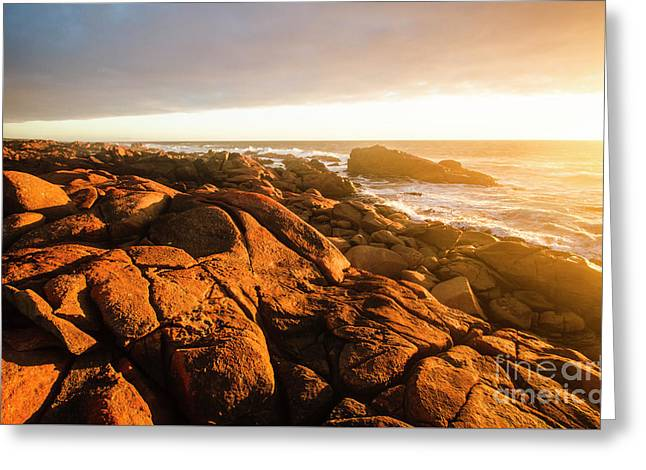 Golden Sunset Coast Greeting Card by Jorgo Photography - Wall Art Gallery