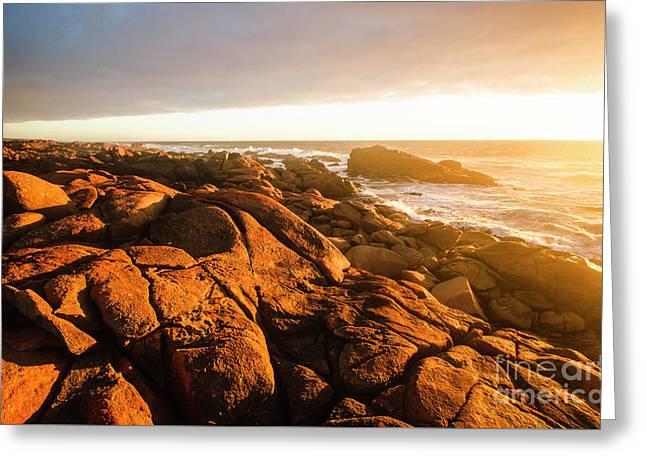 Golden Sunset Coast Greeting Card