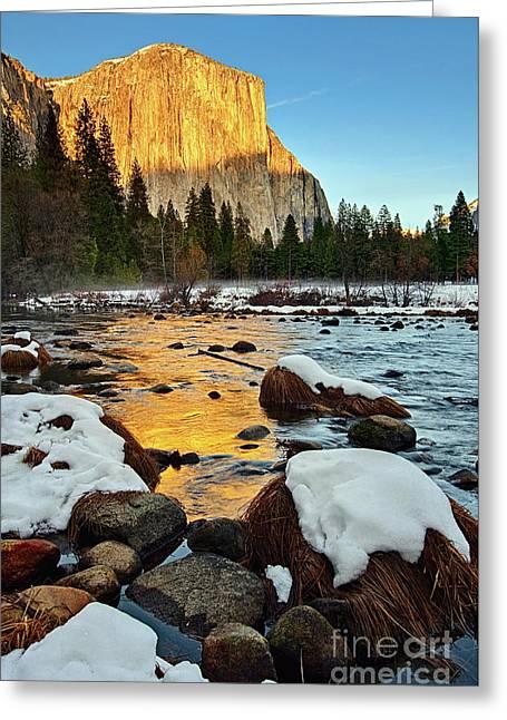 Golden Sunset - El Capitan In Yosemite National Park. Greeting Card