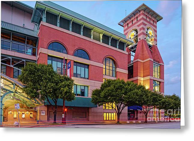 Golden Sunset Glow On The Facade Of Minute Maid Park - Downtown Houston Harris County Texas Greeting Card