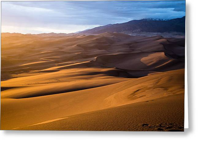 Golden Sunset In The Dunes Greeting Card by Adam Pender