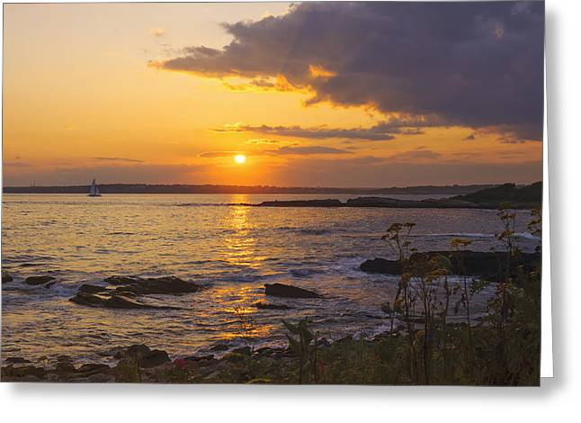 New England Ocean Greeting Cards - Golden Sunset Newport Greeting Card by Marianne Campolongo