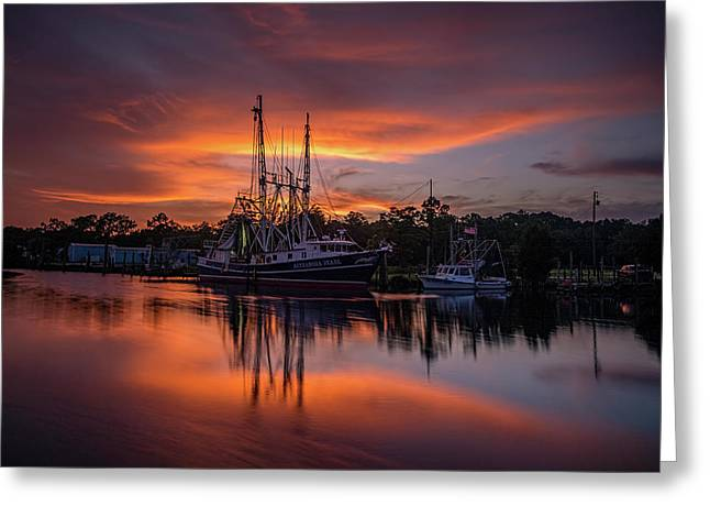 Golden Sunset On The Bayou Greeting Card