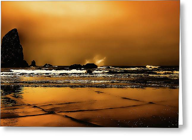 Golden Sunset On The Beach Greeting Card by David Patterson