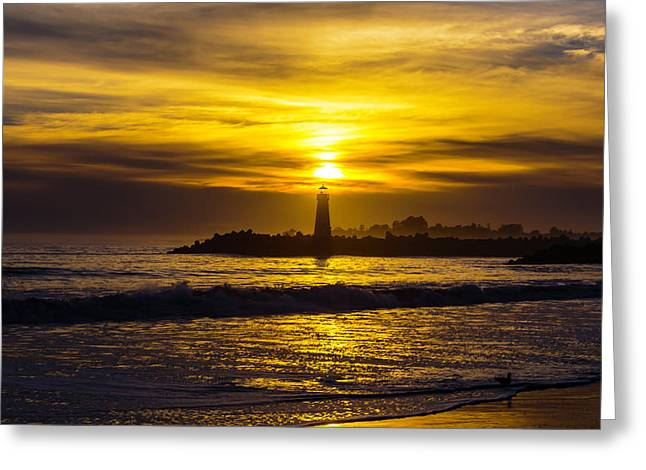 Golden Sunset Over Walton Lighthouse Greeting Card