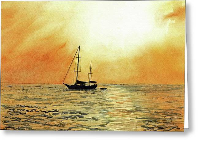 Golden Sunset Greeting Card by Paul Temple