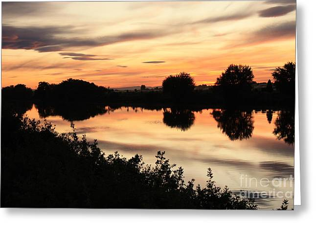 Golden Sunset Reflection Greeting Card