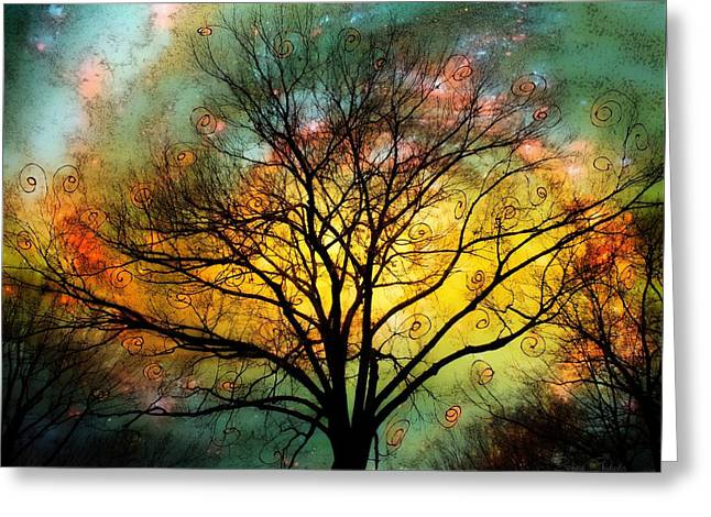 Golden Sunset Treescape Greeting Card