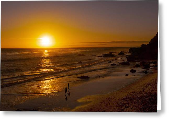 Greeting Card featuring the photograph Golden Sunset Walk On Malibu Beach by Jerry Cowart