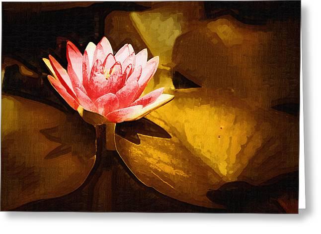 Golden Swamp Flower Greeting Card by Paul Bartoszek