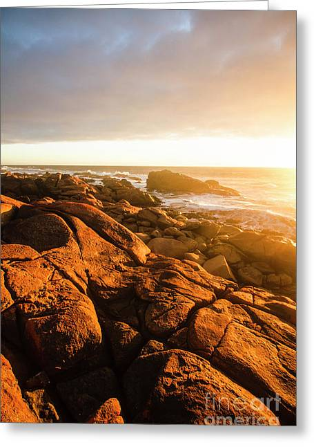 Golden Tasmania Coastline Greeting Card