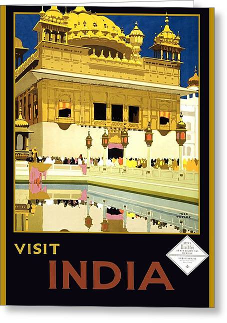 Golden Temple Amritsar India - Vintage Travel Advertising Poster Greeting Card