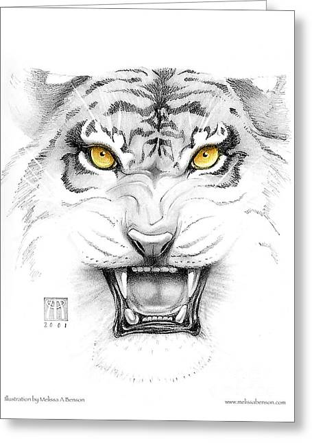 Golden Tiger Eyes Greeting Card by Melissa A Benson