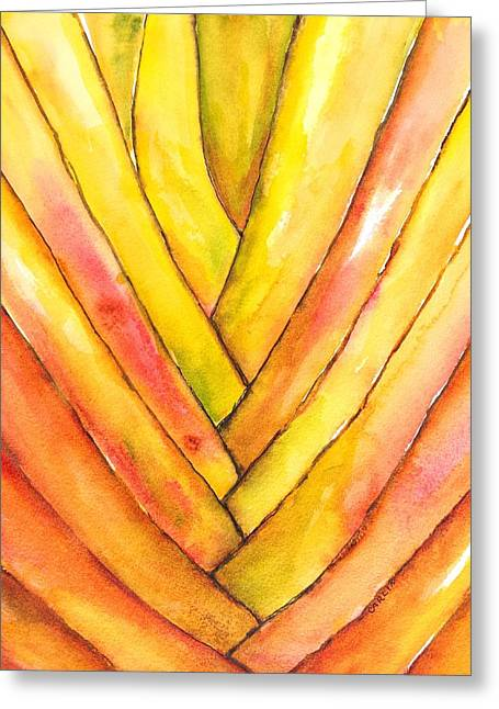 Golden Travelers Palm Trunk Greeting Card