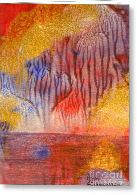 Golden Trees Of The Enchanted Forest Greeting Card by Ann Sokolovich