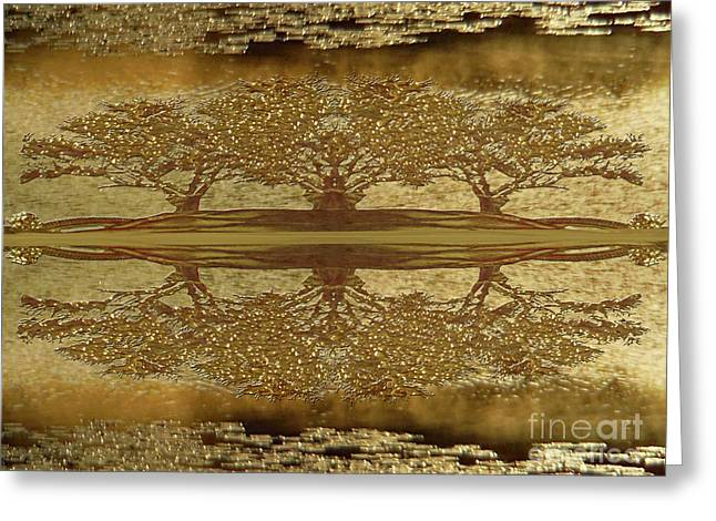 Golden Trees Reflection Greeting Card