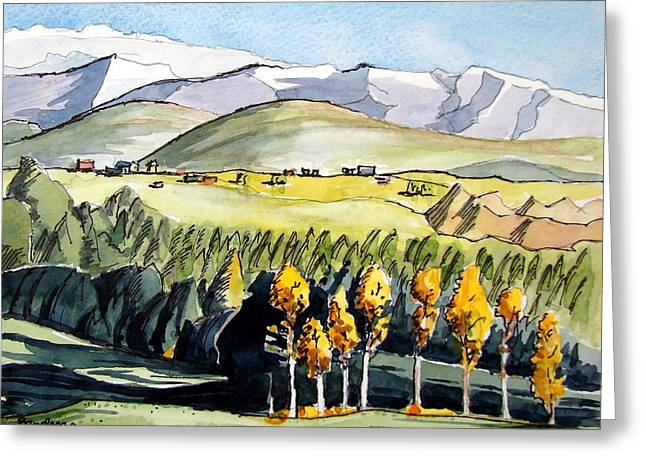 Greeting Card featuring the painting Golden Trees by Terry Banderas