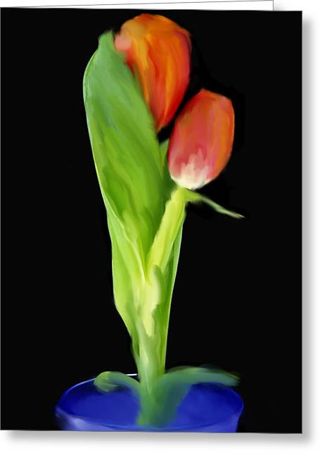 Golden Tulips Greeting Card by Daniel D Miller