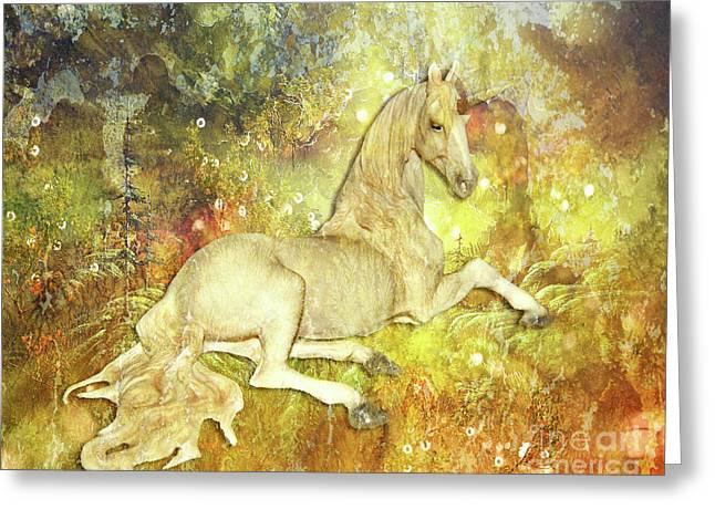 Golden Unicorn Dreams Greeting Card